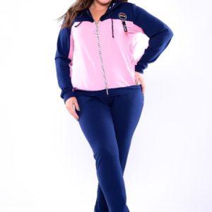 Приобрести дешево батал женский костюм спортивный из двух нитки кофта и брюки сине-пудрового цвета Украина