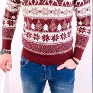 Заказать недорого мужской новогодний с оленями свитер из шерсти батал в подарок
