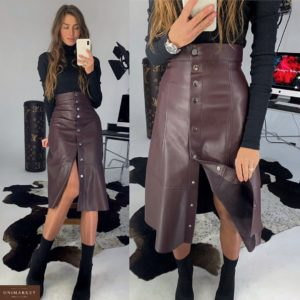 Приобрести в интернет-магазине женскую миди юбку из эко-кожи на кнопках сливового цвета дешево