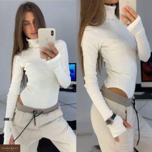 Приобрести в интернет-магазине женский гольф - боди с разрезом и рукавом молочного цвета дешево