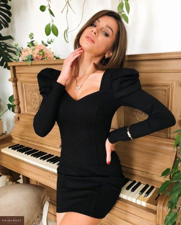 Приобрести дешево женское платье вечернее и декольте с рукавами фонариками на новый год черного цвета батал Украина