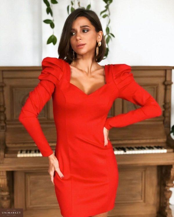 Заказать в интернет-магазине женское вечернее платье на корпоратив с рукавами фонариками и декольте красного цвета батал дешево
