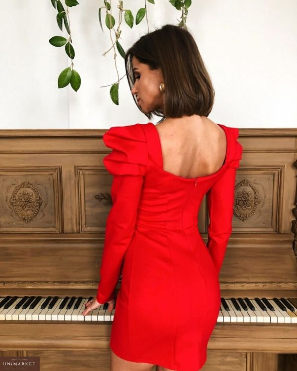 Приобрести дешево женское платье вечернее на новогоднюю вечеринку с рукавами фонариками и декольте цвета красного больших размеров недорого
