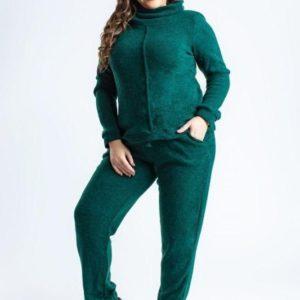 Заказать в интернет-магазине женский очень тёплый костюм из ангоры изумрудного цвета батал дешево