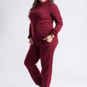 Купить оптом женский костюм из ангоры очень тёплый бордового цвета батал в подарок