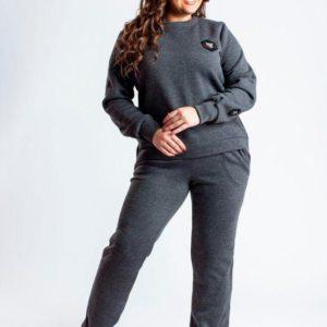 Заказать в интернет-магазине женский спортивный костюм с начесом и логотипом батал дешево