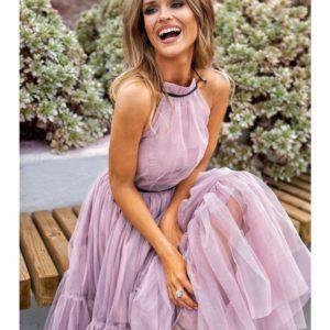 Приобрести женское платье вечернее на новый год с пышной юбкой из мягкого фатина цвета розового в Украине