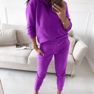 Заказать в подарок женский спортивный костюм двойка: кофта с капюшоном + штаны фиолетового цвета оптом Украина