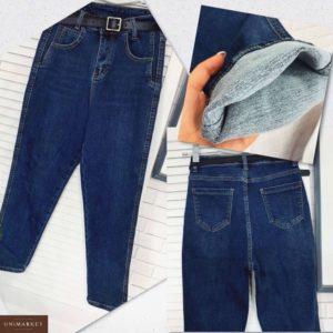 Приобрести в интернет-магазине женские джинсы из стрейч джинса с ремнём на флисе цвета синего дешево