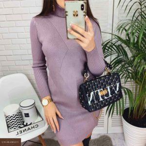 Приобрести в интернет-магазине женское платье - гольф с узором фактурным из вязки лилового цвета дешево