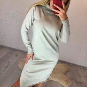 Приобрести в интернет-магазине женское платье из хлопка - гольф с поясной сумкой в комплекте цвета бежевого дешево