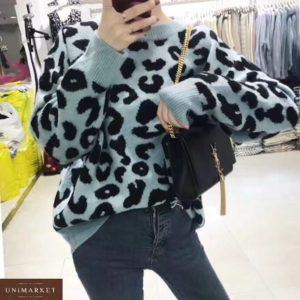 Приобрести в интернет-магазине женский свитер с принтом животным из вязки голубого цвета дешево