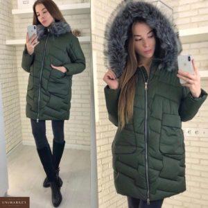 Купить недорого куртку женскую из холофайбера с капюшоном и мехом сьемным цвета хаки в подарок