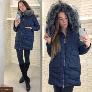 Заказать в подарок женскую куртку из холофайбера с капюшоном и сьемным мехом синего цвета оптом Украина