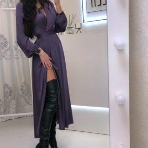 Заказать дешево женское шелковое платье миди на запах с разрезом и поясом цвета фуксия на корпоратив недорого