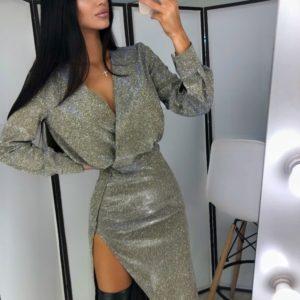 Заказать дешево женское платье с разрезом из трикотажа длинное с напылением цвета золото-хамелеон на корпоратив недорого