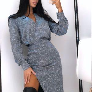 Купить недорого женское длинное платье из трикотажа с разрезом и напылением цвета серебро-хамелеон на новый год в подарок