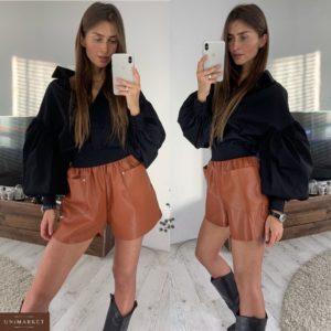 Приобрести в интернет-магазине женские шорты на замше из эко-кожи кирпичного цвета дешево