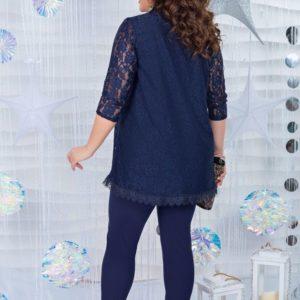 Приобрести дешево женский костюм: кофта из гипюра с воротником стойкой + брюки цвета синего больших размеров недорого