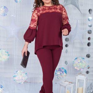 Приобрести дешево женский костюм: блузка + штаны из креп дайвинга бордового цвета батал Украина