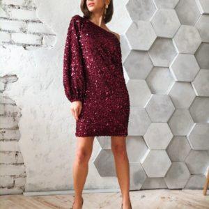 Приобрести в интернет-магазине женское платье на вечер на бархате из пайетки с рукавами длинными цвета бордового на новогоднюю вечеринку дешево