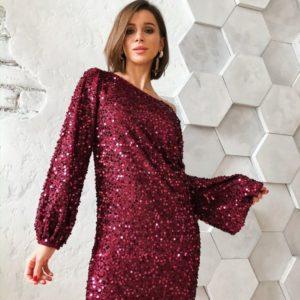 Заказать в подарок женское платье на вечер из пайетки на бархате с длинными рукавами бордового цвета на корпоратив оптом Украина