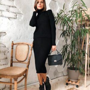 Приобрести в интернет-магазине женский костюм: облегающая юбка + гольф цвета черного дешево