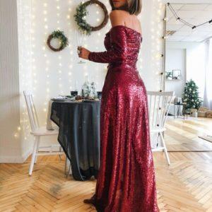 Заказать в подарок женское длинное вечернее платье из пайетки с открытыми плечами цвета спелой вишни на корпоратив оптом Украина