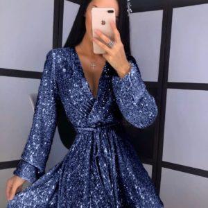 Заказать дешево женское cтильное платье с поясом с пайетками на запах синего цвета на новый год недорого