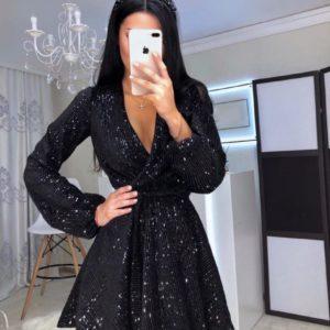 Приобрести в интернет-магазине женское платье cтильное с пайетками на запах с поясом черного цвета на новогоднюю вечеринку дешево