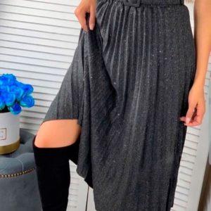 Придбати в інтернет-магазині жіночу спідницю плісе з блискітками з бавовни і поясом темно-сірого кольору дешево