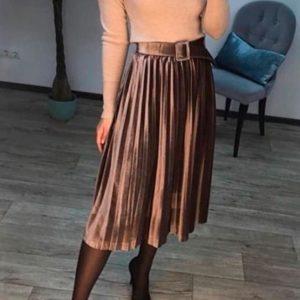 Придбати спідницю жіночу з велюру з поясом в комплекті кольору мокко в Україні