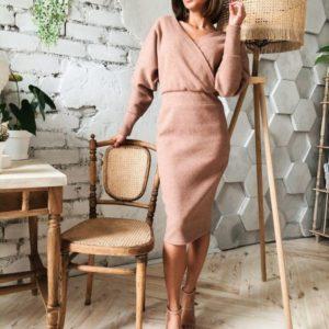 Купить недорого женское платье миди с рукавами объемными цвета пудры на новый год в подарок