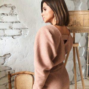 Заказать дешево женское платье с обьемными рукавами миди пудрового цвета на корпоратив недорого