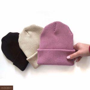 Заказать в подарок женскую шапку в рубчик из акрила и шерсти розового цвета оптом Украина
