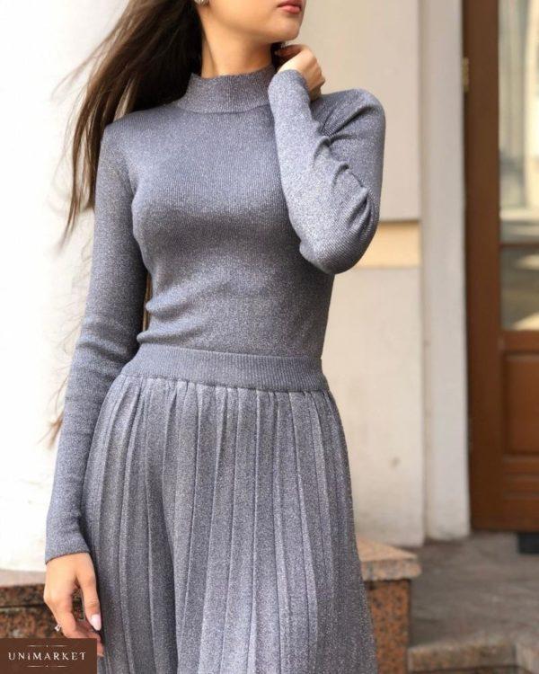 Приобрести в интернет-магазине женский костюм: юбка + гольф из трикотажа люрекс светло-серого цвета дешево