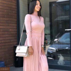 Заказать дешево женский костюм: гольф + юбка из люрекс трикотажа цвета пудры недорого