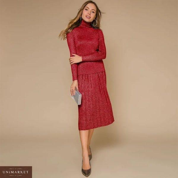 Заказать в подарок женский костюм из люрекс трикотажа: гольф + юбка из трикотажа люрекс красного цвета недорого