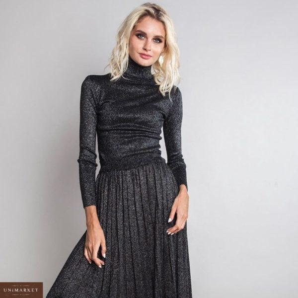Заказать в подарок женский костюм: гольф + юбка из трикотажа люрекс черного цвета оптом Украина