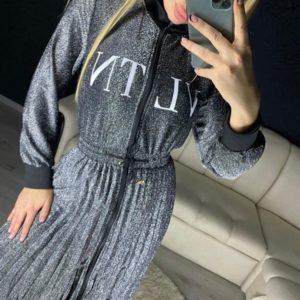 Заказать дешево платье женское из люрекса lvtn с поясом цвета серебра на новый год недорого