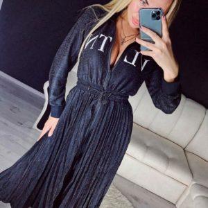 Приобрести в интернет-магазине женское платье из люрекса lvtn с поясом цвета черного на корпоратив дешево