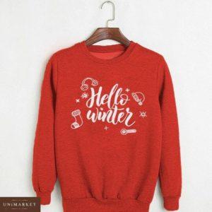 Заказать в подарок женский свитшот из трикотажа на меху с логотипом hello winter красного цвета оптом Украина