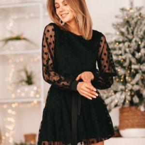 Приобрести в интернет-магазине женское платье с подкладкой в сетку горох черное на новый год дешево
