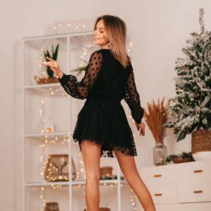 Заказать в подарок женское платье в сетку горох черное с подкладкой на новогоднюю вечеринку оптом Украина