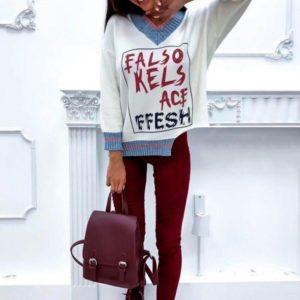 Заказать в подарок женский свитер свободного кроя из кашемира белого цвета Украина