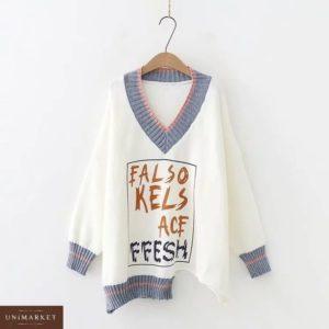 Приобрести в интернет-магазине женский свитер кроя свободного из кашемира цвета белого дешево