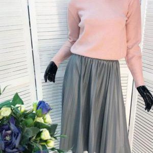 Приобрести в интернет-магазине юбку женскую из кожи эко плиссе серого цвета дешево