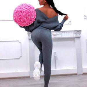 Приобрести недорого женский прогулочный костюм: кофта + брюки из трикотажа люрикс серого цвета оптом Украина