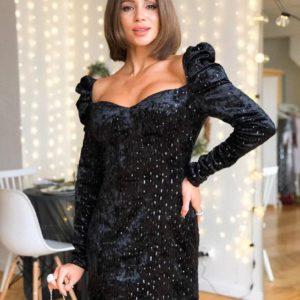 Заказать в подарок женское платье на подкладке из мраморного бархата с пайеткой цвета черного на корпоратив недорого