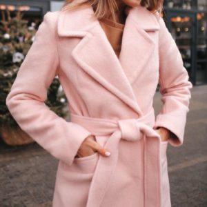 Заказать дешево женское зимнее пальто шерстяное очень тёплое и мягкое цвета пудры недорого